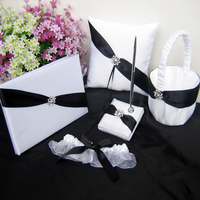 Free shipping,Set of 5pc Black&White Ribbon Wedding Guest Book pen and pen holder Ring Pillow set party wedding decoration