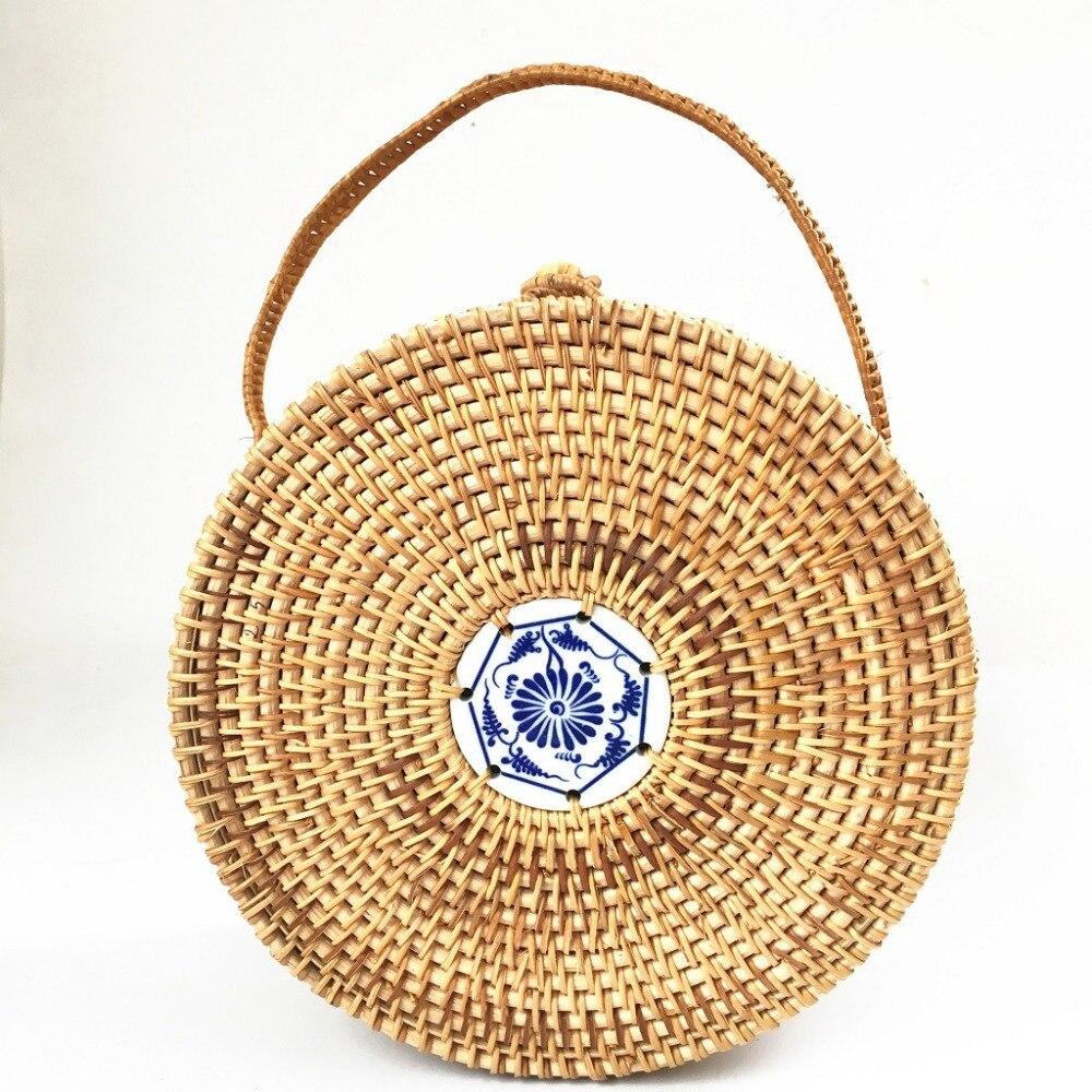 Womens handbag 2019 new portable rattan bag ceramic ins bohemian straw beach female bucket