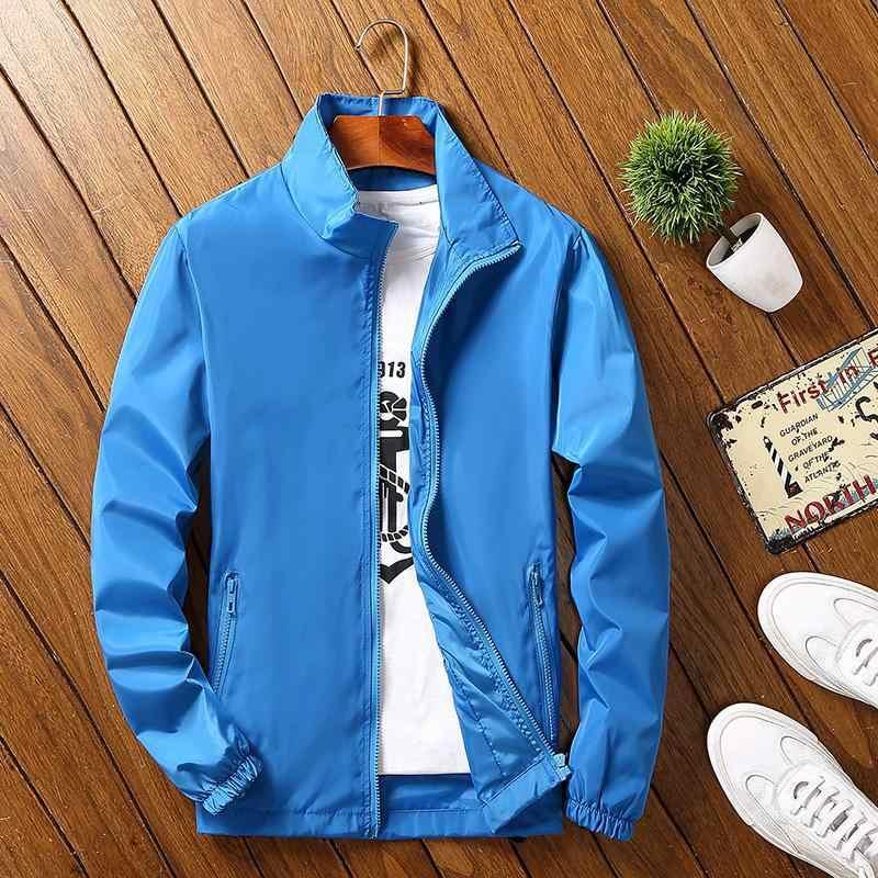 KUEZLE пальто лето осень мужская куртка стоячий воротник ветровка мужская синяя бейсбольная куртка Повседневная тонкая высококачественная размер M-4XL