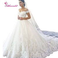 Custom White Ball Gown Wedding Dresses Applique Off The Shoulder Gorgeous Bride Dresses Vestido Robe De