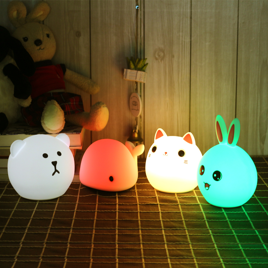 Touch Silicone Led Night Light USB Rechargeable Baby Children Kids Gift Animal Cartoon Lamp Bedside Bedroom Living Room