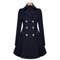 Female Fashion Jackets for Women Elegant Autumn Coats Double Breasted Pea Coat Casual Outwear England Style Solid S 5XL