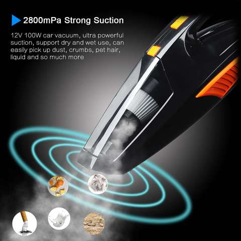 Cordless Car Vacuum Cleaner with LED Light 12V 120W Mini Auto Home Dual-Use Cleaner Wet / Dry Auto Portable Handheld Aspirador Lahore