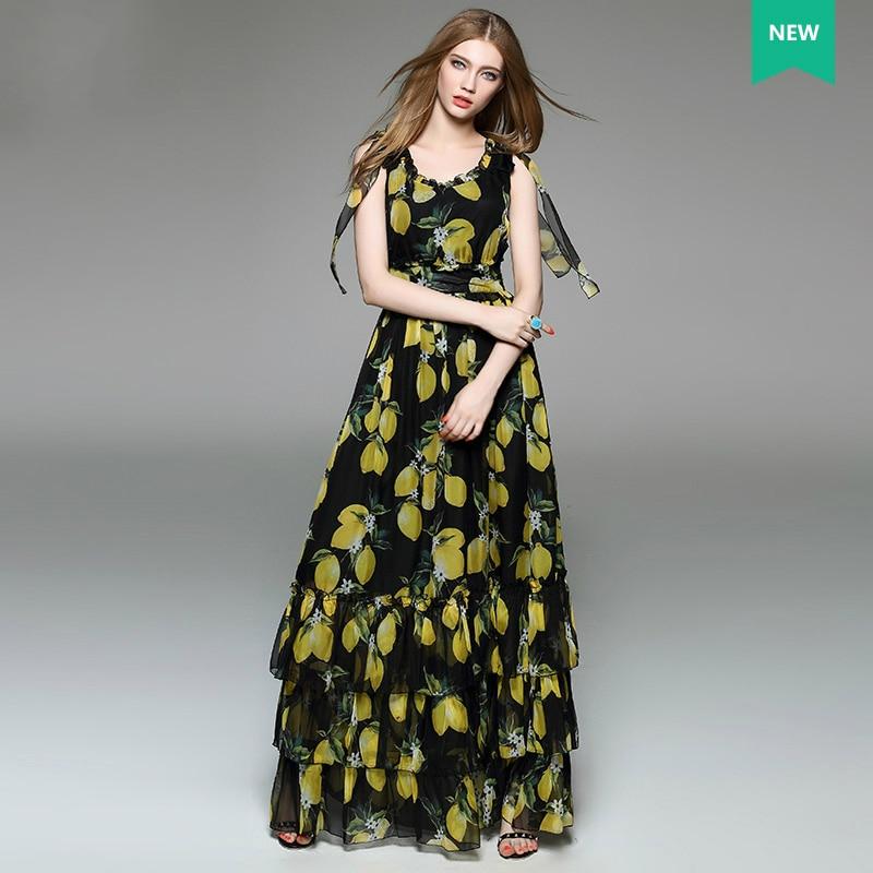 Delle donne eleganti di Limone Bow Stampato vestito dalla Torta della  maglia Spalla Designer Boutique senza maniche maxi abiti lunghi in chiffon  con colpi ... 147ebd0bbcf