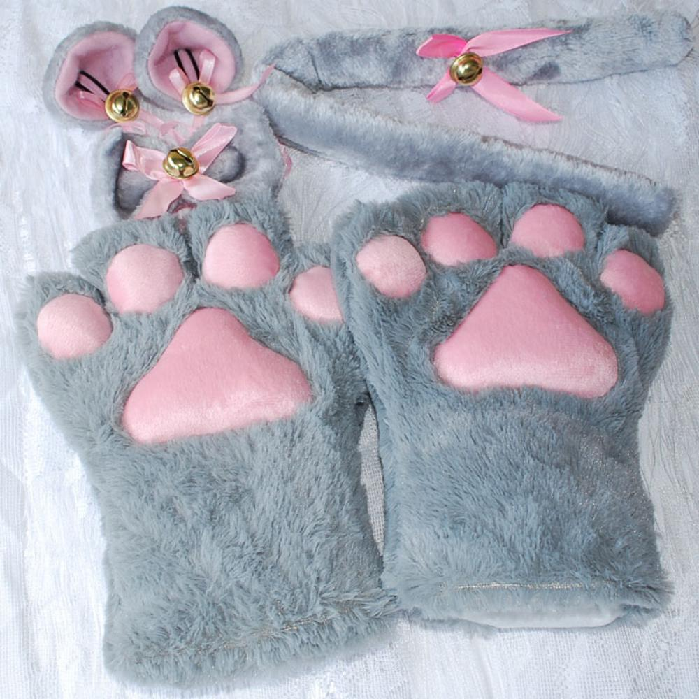 Hot Halloween Cat Ears Plush Paw Claw Gloves Tail Bow Tie Anime