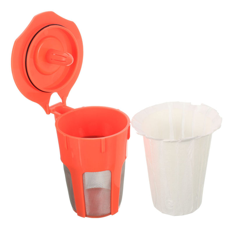 30pcs disposable paper coffee filter with 1pc plastic reuse orange cup refillable cafe coffee tool for keurig 20 k300 400 500 - Cheap Keurig