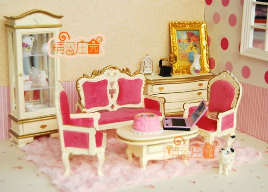1 12 scale doll house furniture miniature pink living for 6 piece living room set