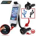 Автомобильный держатель телефона с двойной зарядное устройство USB прикуривателя смонтировать держатель для сотового телефона GPS mp3-плеер iPhone 5 5S 6