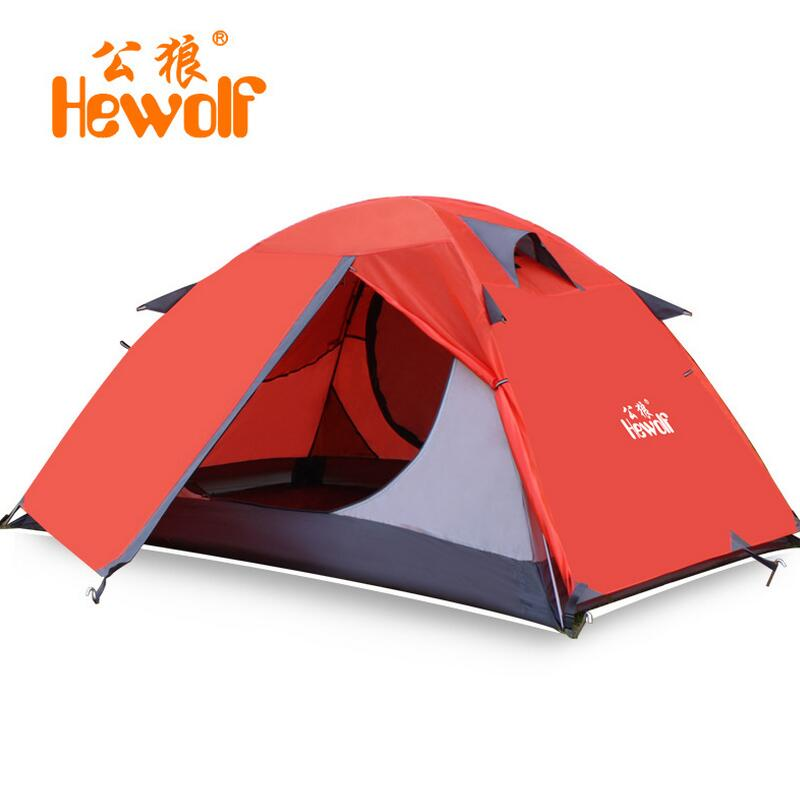 Hewolf Double layer waterproof travel tent 2 person Camping Hiking Tent 4 seasons Outdoor Beach Tourist tents Aluminum pole mobi garden outdoor camping tent 4 seasons double layer aluminum tent two rooms big camping tent super large 3 4 persons tent