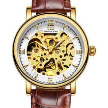 TSS moda de zafiro hombres reloj esqueleto de lujo reloj luminoso relojes automáticos de los hombres de cuero genuino relojes mecánicos T5018