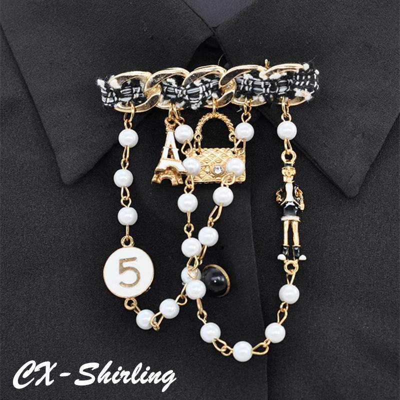 New Design Camellia Flowers Letter 5 Chain Tassel Bouquets Corsage Luxury Brand Designer Jewelry 2017 Brooch Pins Broach