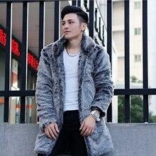 Men Winter Coats 2018 New Fashion Faux Fox Fur Coat Black Warm Jackets Long Leisure Male Outwears Thick Plus Size Overcoats