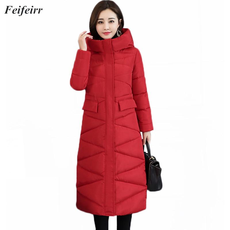 2018 Winter Jacket New   Parka   Coat Female Plus size Fashion Down Jacket Long Hoodie Down Thick Long Coat Jacket Women Clothing