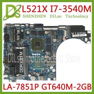 KEFU QBL00 LA-7851P motherboard FOR Dell XPS 15 L521X Laptop Motherboard I7-3540M DDR3L GT640M 2GB Fully Tested 100% work