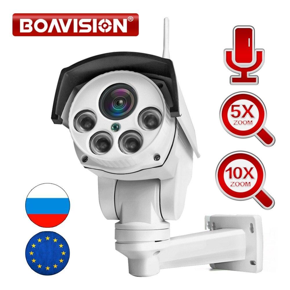HD 1080 P Wi-fi PTZ IP Câmera com Áudio 5X/10X 2MP Zoom Óptico Lente de Segurança CCTV Câmeras de Bala Ao Ar Livre IR à prova d' água Onvif CamHi