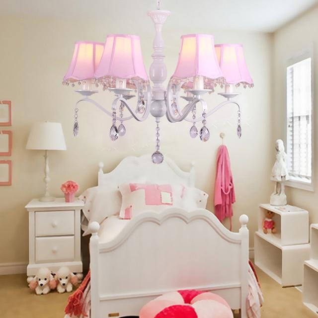 girls bedroom chandelier. Korean pastoral crystal chandelier simple European style wrought iron pink  princess room warm girls