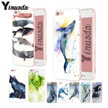 Pintura Em Aquarela Yinuoda gato animal baleias Transparente Caixa Do Telefone de Borracha Para o iphone XSMax X XS XR 7 7Plus 8 8plus 6 6 6s plus(China)