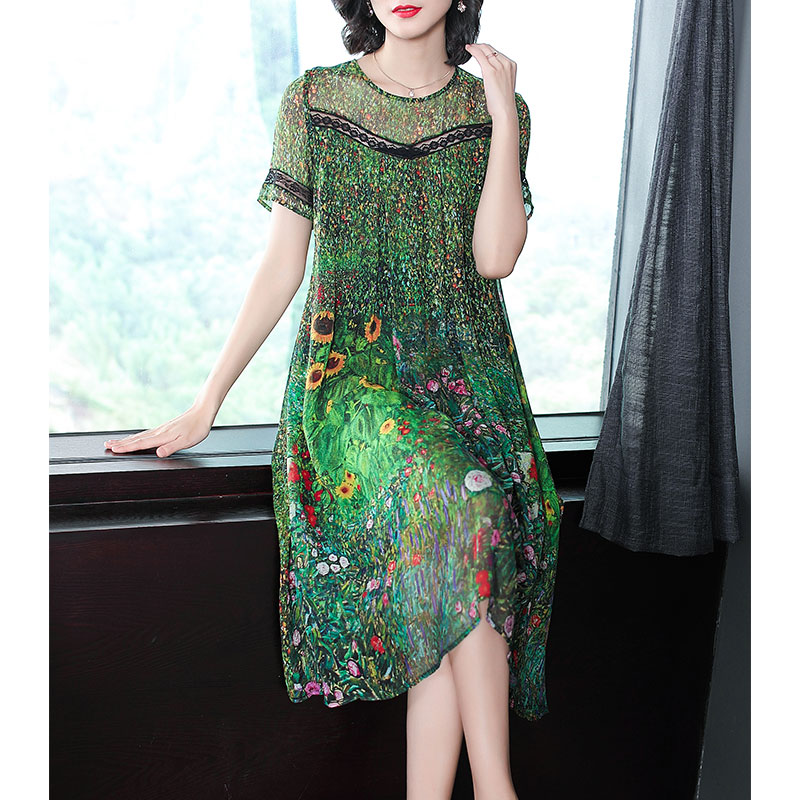 Vintage Peacock Green Silk Dress 2018 Floral Print Summer Dresses Plus Size M-3XL Gown Lace Stitching Short Sleeve Robes