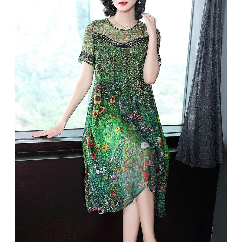 Винтажное зеленое шелковое платье с павлином, летние платья с цветочным принтом 2020, большие размеры, M 3XL, кружевное платье с короткими рукавами|Платья|   | АлиЭкспресс
