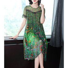 Vintage Peacock Green Silk Dress 2020 Floral Print Summer Dresses Plus Size M 3XL Gown Lace Stitching Short Sleeve Robes