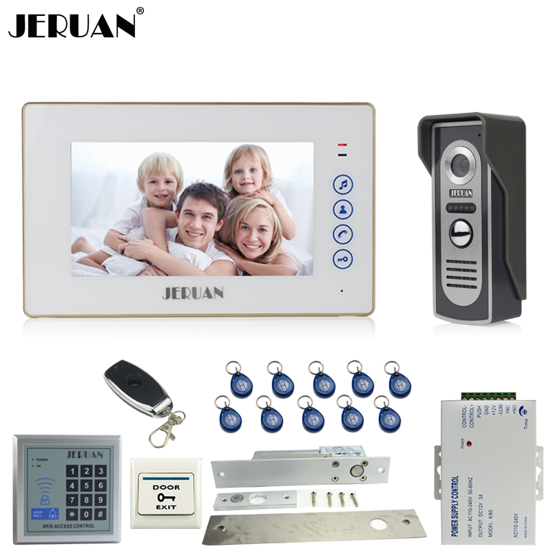 JERUAN 7 inch Video Door phone Intercom System kit 1 White Touch Key Monitor 700TVL IR Camera RFID Access Control 10 ID jeruan home 7 video door phone intercom system kit 1 white monitor metal 700tvl ir pinhole camera rfid access control in stock
