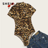 SHEIN Plus Size Multicolor Mock-Neck Leopard Print Bodysuit 2019 Women Summer Casual Stand Collar Short Sleeve Plus Bodysuits