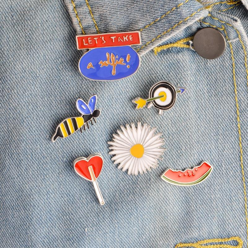 6pcs/set LETS TAKE a selfie Bee Watermelon Daisy Love Lollipop Arrow Target Brooch Denim Jacket Pin Shirt Badge Fashion Gift