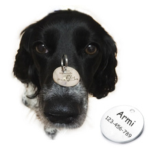 Personalized Pattern Pet Dog ID Tag Custom Metal Stainless Round B6211001