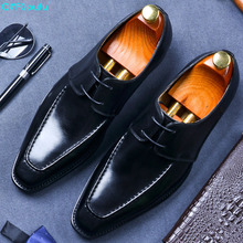 2019 High Quality Men Dress Shoes Genuine Leather Black Luxury Italian Brand Fashion Business Oxford
