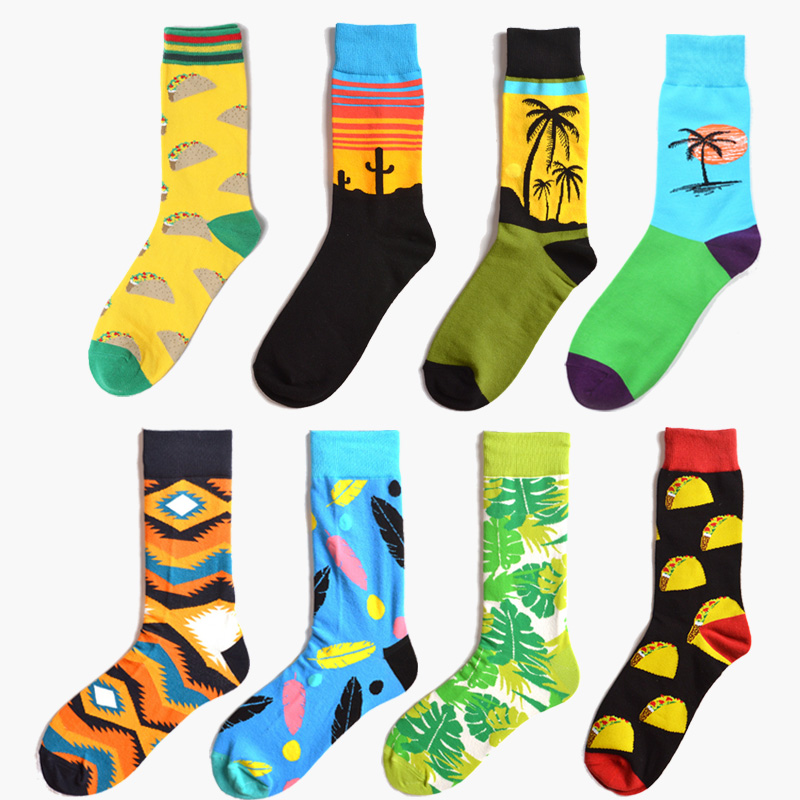Funny Colorful Scenery Holiday Casual   Socks   Women Novelty Harajuku Mexico Tacos Hamburger Cactus Cotton Wedding Gift   Socks
