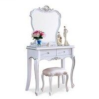 elegant European style Mirror white Wood Bathroom Vanity Set Makeup Table Dresser Drawers with stool