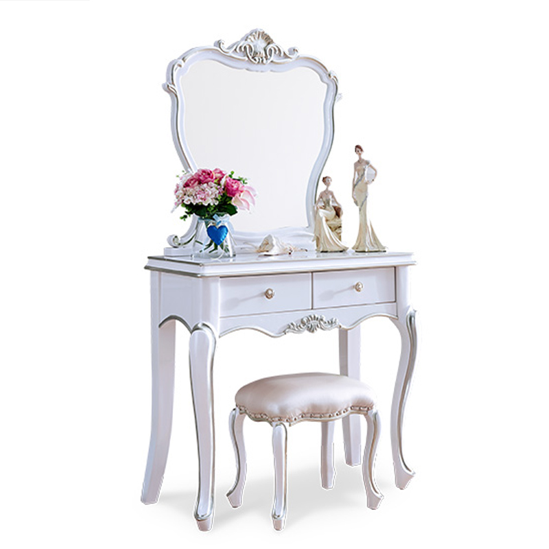 elegant European style Mirror white Wood Bathroom Vanity Set Makeup Table Dresser Drawers with stool