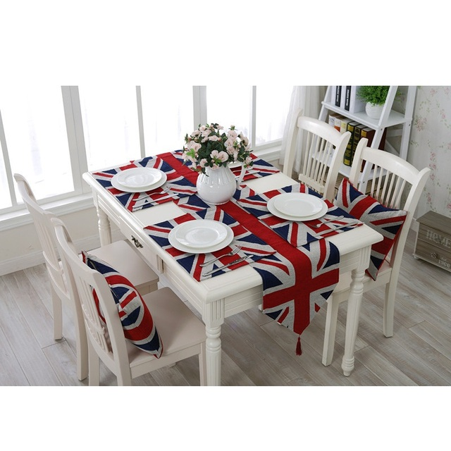 Modern Minimalist British Union Jack Flag Placemat Insulation Mat Table Runner Cloth Home Decor