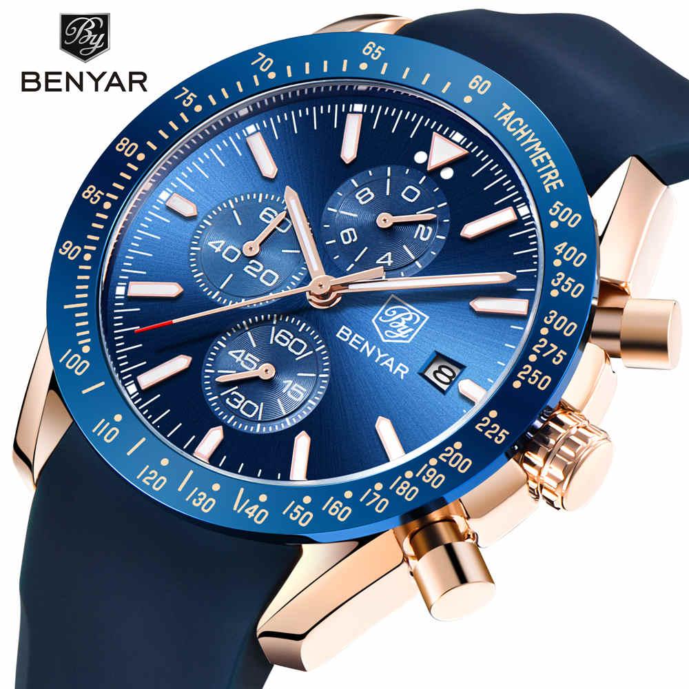 BENYAR Для мужчин часы люксовый бренд силиконовый ремешок Водонепроницаемый Спорт Кварцевый Хронограф военные часы Для мужчин часы Relogio Masculino