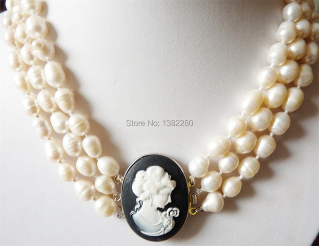 "Free shipping 2015 Beautiful girl! 3 rows 8-9MM white Baroque Pearl carved Necklace 17-19""   JT5084"