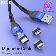 PZOZ Magnetic usb Charging cable Fast Charging Micro usb cable Type c Magnet Charger usb c cable For iphone xiaomi Samsung Cord elough magnetic charging usb cable for iphone charger micro usb cable type c led usb magnetic cable usb c for xiaomi charger