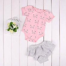 2PCS Ruffles Newborn Baby Clothes 2017 Summer Princess Girls Cat Print Shorts Tops Baby Dot Skirt O-Neck Outfits Sunsuit
