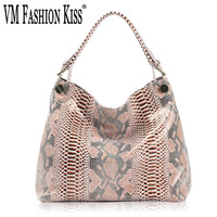 VM FASHION KISS 2018 New Serpentine Pattern Genuine Leather Crossbody Top handle Bags For Women Snake Bag Ladies Hobos Handbags