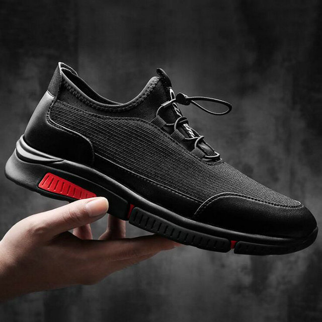 High Quality Autumn Fashion Men Casual Shoes Lace Up Flats Zapatos Hombre Sapatos Man all black Sneakers Shoes LM-31