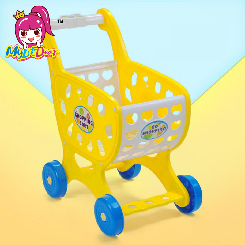 MylitDear Mini Kid Simulate Supermarket Shopping Cart Pretend Play Toys Children Mini Plastic Trolley Play Toy Gift for Children