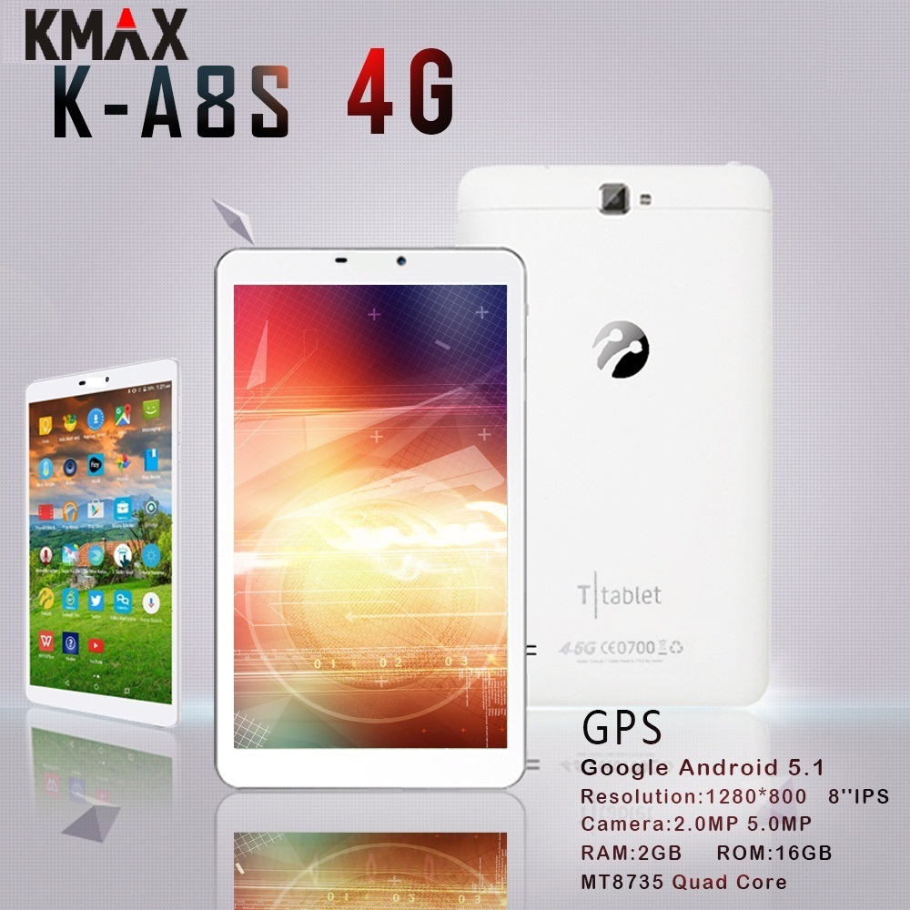 KMAX 8 pouces 4G lte android tablette PC carte SIM 3G Quad Core 2 GB 16 GB HD IPS LCD GPS Bluetooth tablettes wifi 8 7 10 étui d'origine