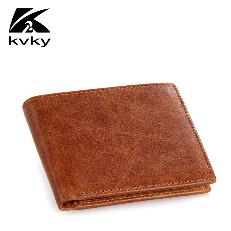 KVKY Vintage Genuine Leather Men's Wallets Vintage Purse High Quality Cowhide Men Coin Purse Casual Short Fashion Card Holder 2017 new cowhide genuine leather men wallets fashion purse with card holder hight quality vintage short wallet clutch wrist bag