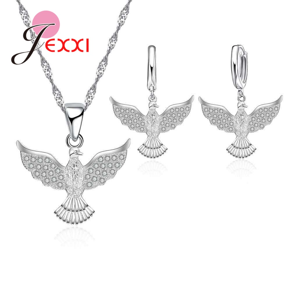 JEXXI Fashion Solid 925 Sterling Silver Jewellery Peace Dove Jewelry Set Crystal Pendant And Earrings Women Engagement Bijoux