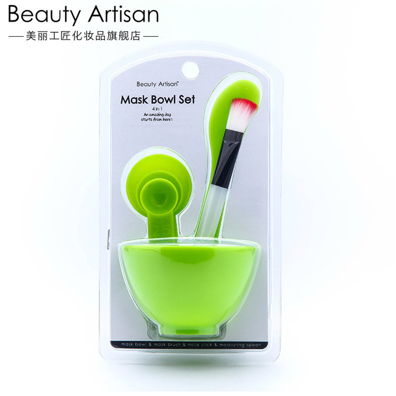 4 in 1 Beauty Artisan DIY Cosmetic Makeup Tool Facial Skin Care Mask Bowl Women Mixed Spong Brush with Stick Brush Facial Set
