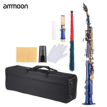 ammoon brand Brass Straight Soprano Saxophone Bb B Flat Sax Woodwind Instrument Natural Shell Key Carve Pattern 5 colors