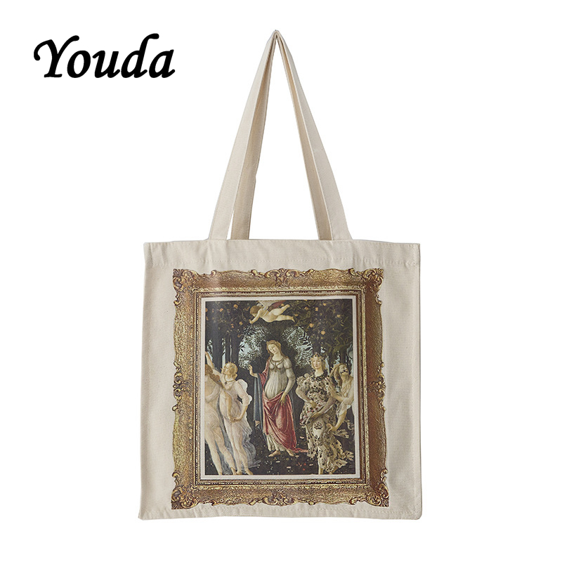 Youda Niche Painting Literary Style Canvas Bag Simple Casual Large Capacity Shoulder Bags Shopping Handbag Ladies Classic Tote