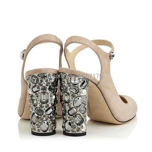 Rhinestone Zapatos Tacones La Lujo Cristal Redonda Suede Mujer Sandalia Punta Grueso Altos Tachonado As Pic Talón Boda Pic Slingback Elegante as Mujeres De Bombas UUFOSaq