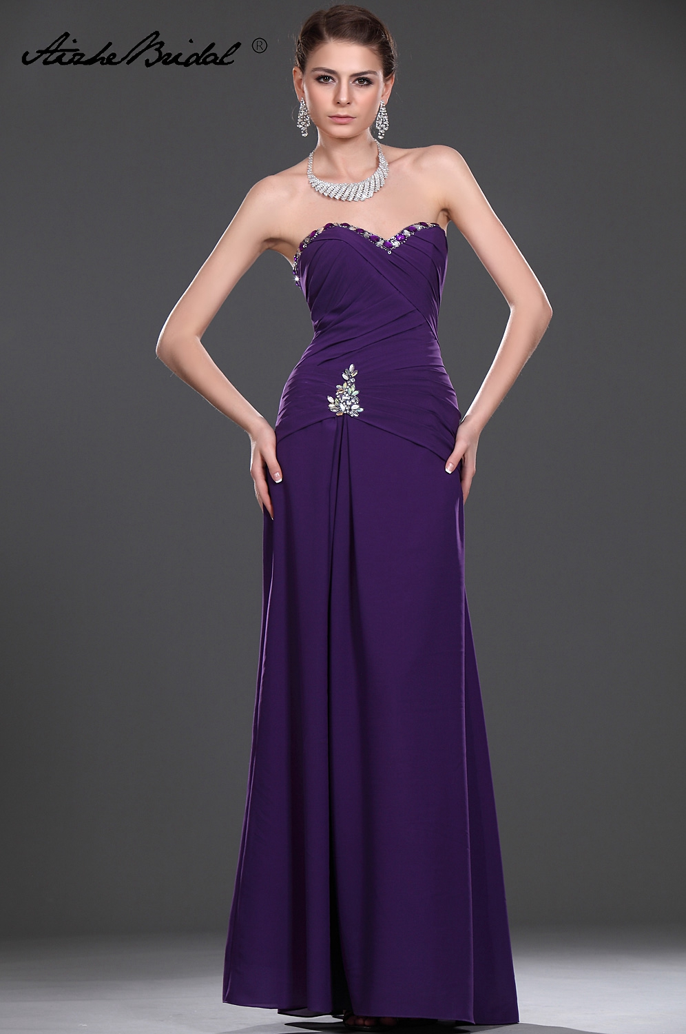 Wedding Party Dress Long Mother Of The Groom Dresses Gorgeous A Line Sleeveless Purple Chiffon Mother Of The Bride Dress