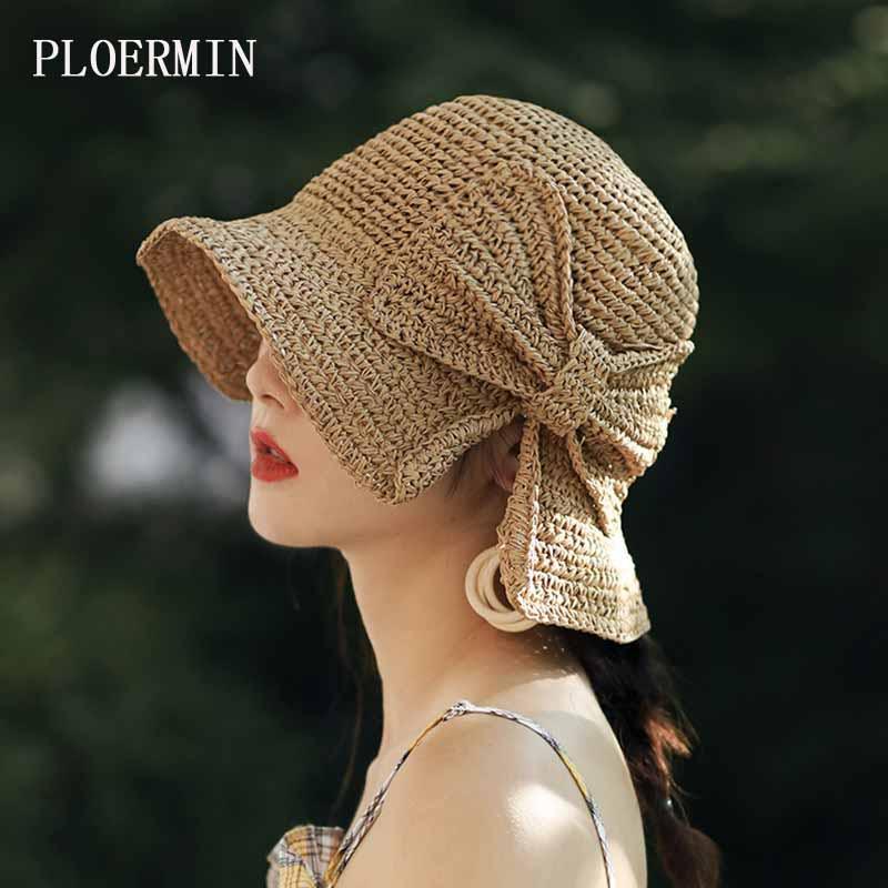 Free Delivery New Summer Hand Crochet Elegant Big Bowknot Sun Hats Women Wide Brim Vacation Visor Fashion Girls Beach Straw Hat