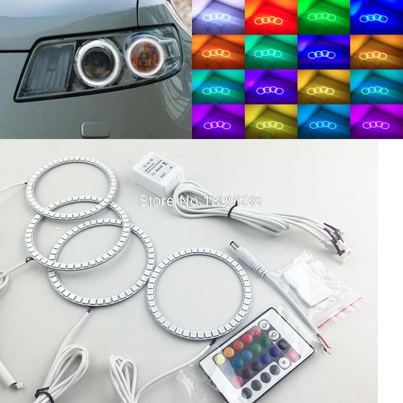 4pcs Super bright 7 color RGB LED Angel Eyes Kit with a remote control car styling for nissan INFINITI FX35 FX45 2003-2008 2pcs super bright rgb led headlight halo angel demon eyes kit with a remote control car styling for ford mustang 2010 2012